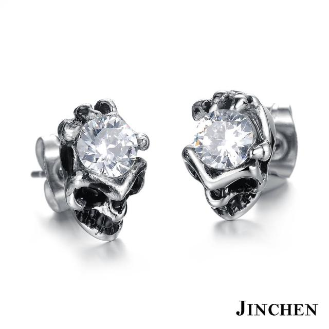 【JINCHEN】316L鈦鋼耳環單個價TEC-277白鑽(骷顱惡魔水鑽耳環/中性配件/鋼針抗過敏)