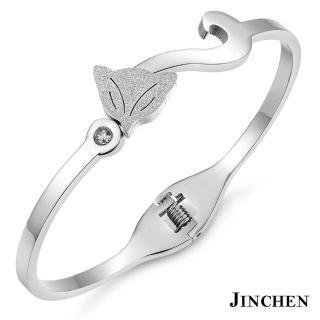 【JINCHEN】316L鈦鋼手環單個價TCC-725A銀色(狐狸手環/正韓商品/淑女百搭)