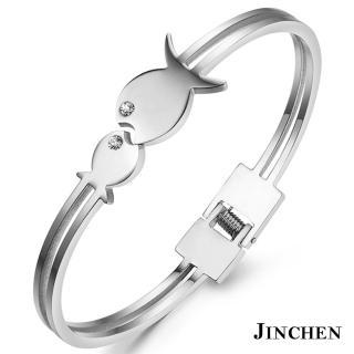 【JINCHEN】316L鈦鋼手環單個價TCC-707銀色(小魚兒手環/正韓商品/優雅大方)