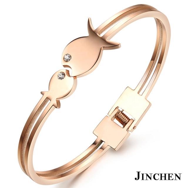 【JINCHEN】316L鈦鋼手環單個價TCC-707玫金(小魚兒手環/正韓商品/優雅大方)