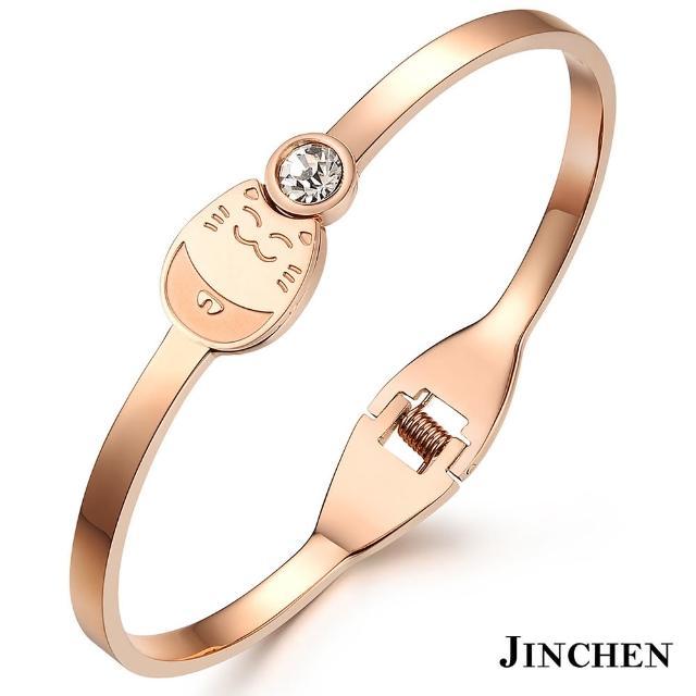 【JINCHEN】316L鈦鋼手環單個價TCC-706玫金(招財貓手環/正韓商品/優雅大方)