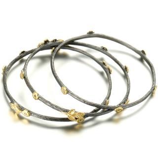 【Annabena】烏金雙色金桂冠環鋯石手環一式三件