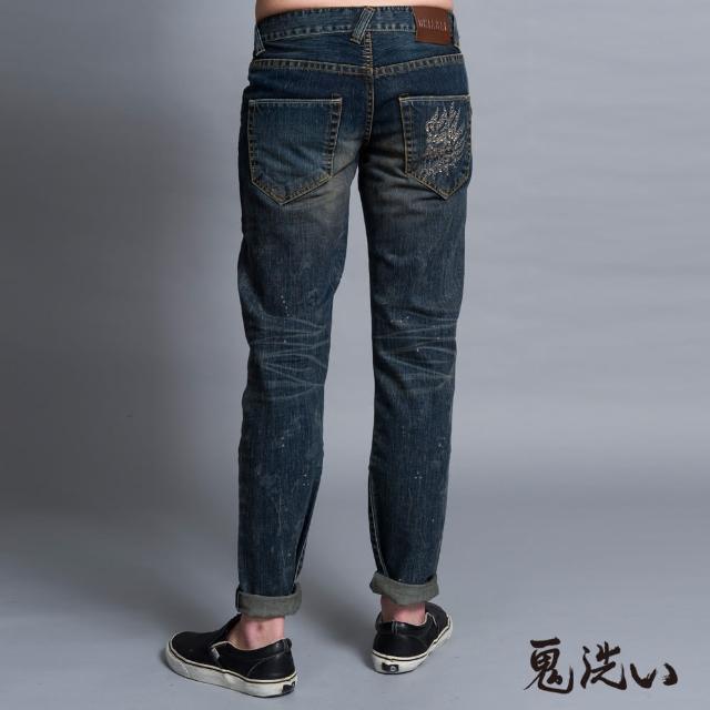 【BLUEWAY-鬼洗】同心圓鋁片鬼頭低腰直筒褲