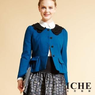 【ICHE 衣哲】立體領片釘珠造型外套(Wool X 暖時尚)