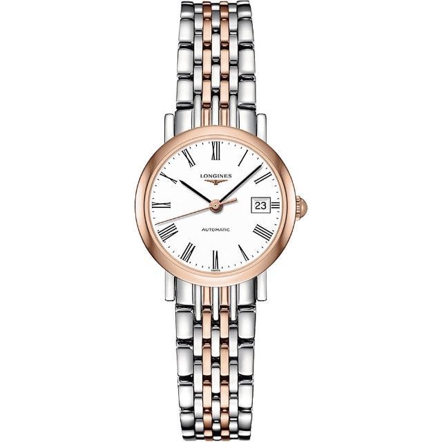 【LONGINES】Elegant 優雅系列羅馬機械女錶-白x雙色版/25.5mm(L43095117)