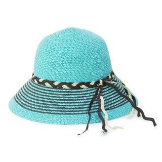 【Limehi】時尚造型編織帶草帽 沙灘遮陽帽 可折疊帽 翻邊圓帽(淺藍棕 Lime-9)