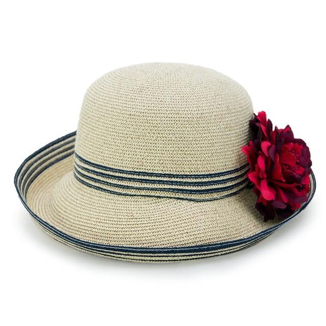 【Limehi】時尚造型草帽 沙灘遮陽帽 可折疊帽 翻邊圓帽(淺卡其 Lime-23-L)