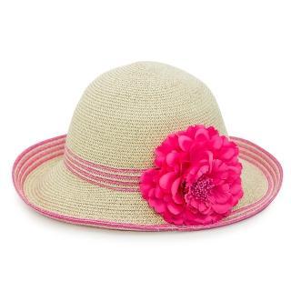 【Limehi】時尚花朵造型草帽 沙灘遮陽帽 可折疊帽 翻邊圓帽(淺米粉 Lime-24-L)