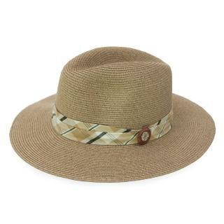 【Limehi】時尚平格紋鈕扣造型草帽 沙灘遮陽帽(深卡其 Lime-11)