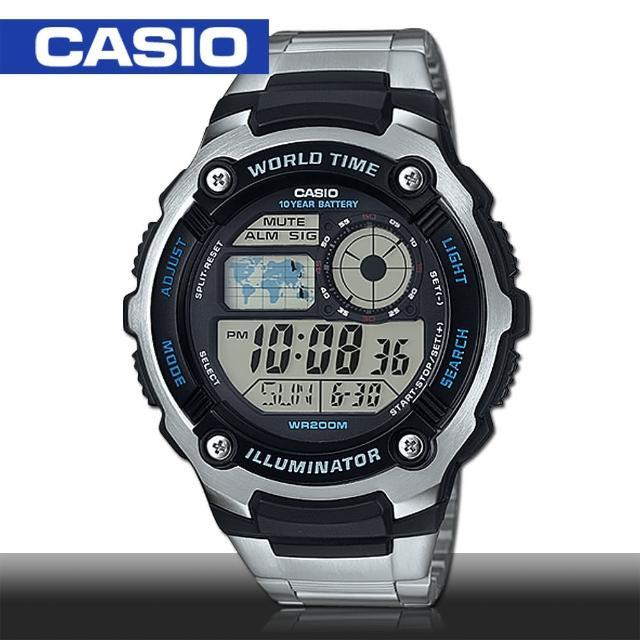 【CASIO 卡西歐】多功能數位運動錶 5.2x4.7cm(AE-2100WD)