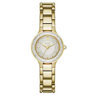 【DKNY】低調巴黎簡約都會腕錶-鑽框白x金(NY2392)