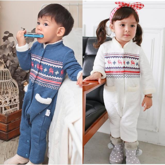 【baby童衣】秋冬嬰兒空氣棉爬服 加厚保暖民族圖騰前開連身衣 50707(共2色)