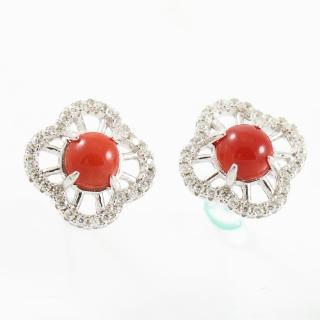 【金玉滿堂】璀璨天然阿卡色紅珊瑚耳環