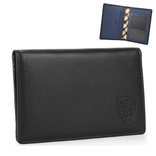 【DAKS】經典家徽壓紋皮革雙色證件短夾(黑/藍)