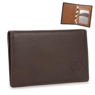 【DAKS】經典家徽壓紋皮革雙色證件短夾(咖啡/深橘)