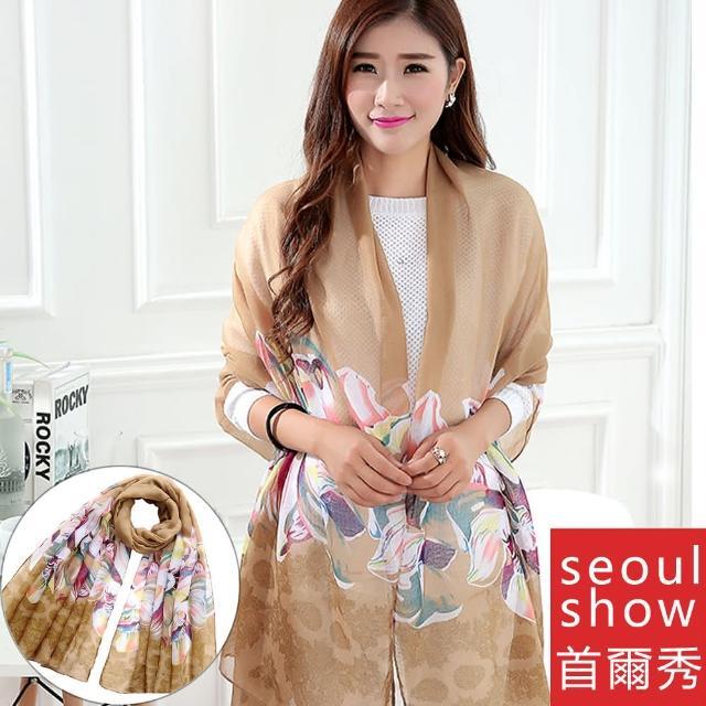【Seoul Show】雙生百合花巴黎紗圍巾2色(土黃)
