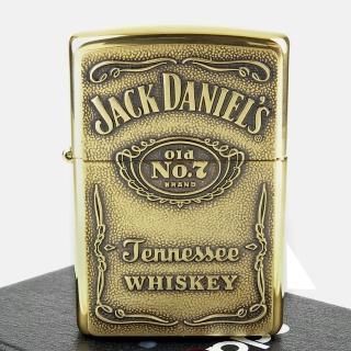 【ZIPPO】Jack Daniels威士忌-浮雕標誌打火機(黃銅款)