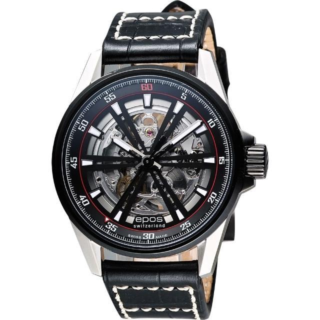 【epos】skeleton 經典鏤空機械腕錶-銀x黑/44mm(3425.135.35.15.24)