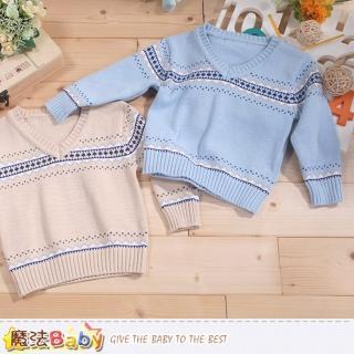 【魔法Baby】專櫃款幼兒V領長袖毛線衣(k43365)