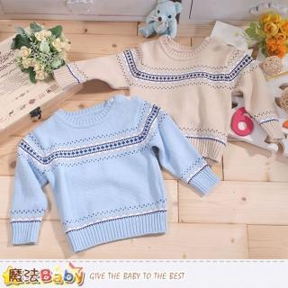 【魔法Baby】專櫃款幼兒圓領肩開釦長袖毛線衣(k43389)