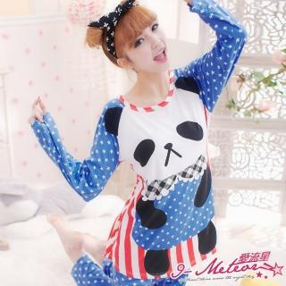 【I-meteor日系】PA1252全尺碼-圓仔熊貓點點條紋牛奶絲二件式睡衣組(甜美藍)
