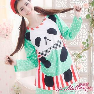 【I-meteor日系】PA1252全尺碼-圓仔熊貓點點條紋牛奶絲二件式睡衣組(蘋果綠)