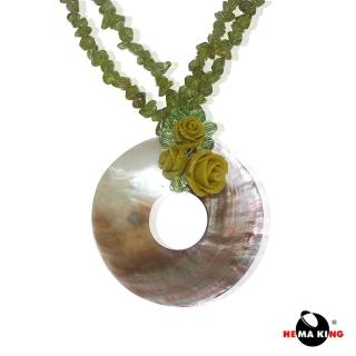 【HEMAKING】海洋貝殼玫瑰項鍊(水草綠)