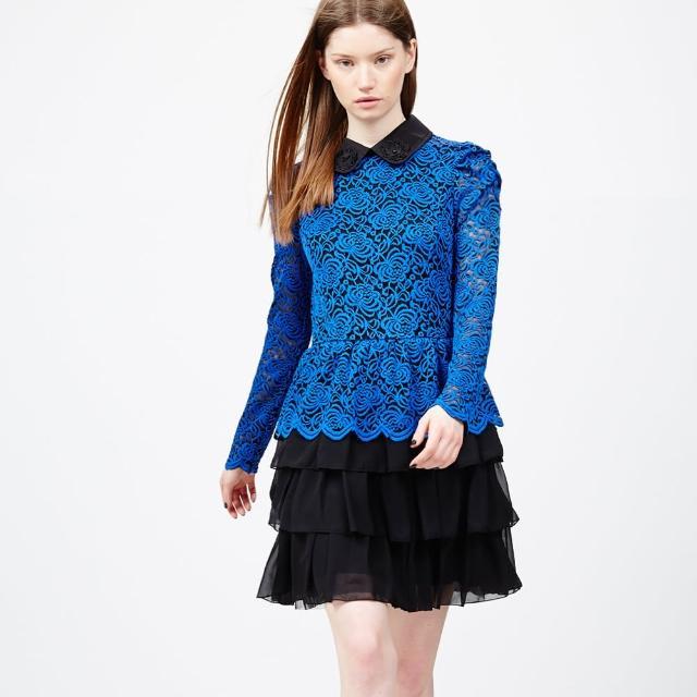 【ICHE 衣哲】立體鉤編蕾絲拼接蛋糕疊層洋裝(2015年度色)