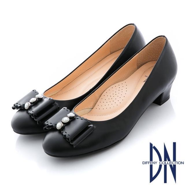 【DN】氣質甜心 MIT全真皮珠飾蝴蝶結粗跟鞋(黑)