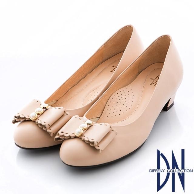 【DN】氣質甜心 MIT全真皮珠飾蝴蝶結粗跟鞋(裸)