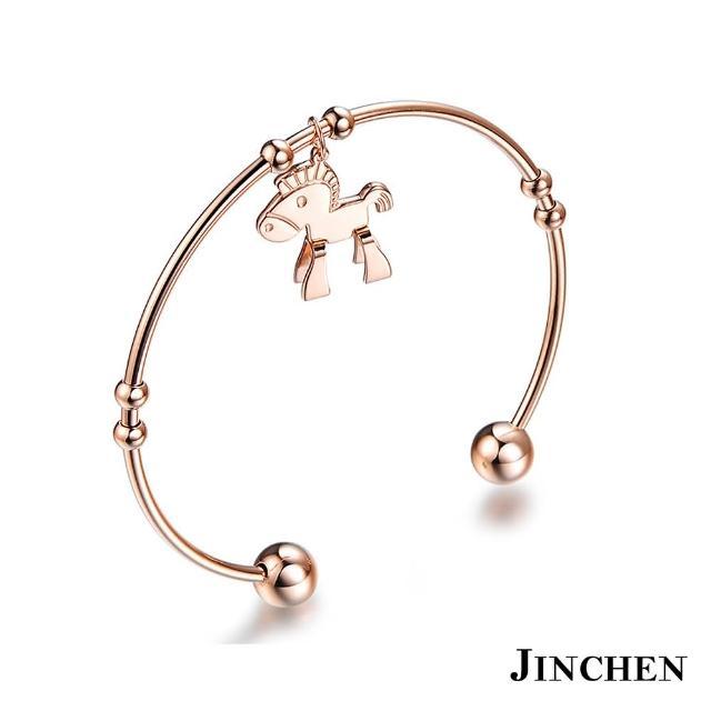 【JINCHEN】316L鈦鋼手環單個價TCC-700C玫金(小木馬手環/正韓商品/優雅大方)