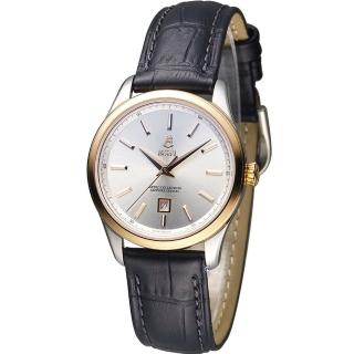 【依波路 E.BOREL】復古系列時尚石英女錶(LBR906-212BK 銀x黑皮)