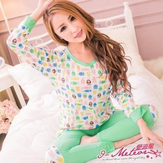 【I-meteor日系】PA1887全尺碼-牛奶絲甜漾貓頭鷹長T二件式睡衣組(甜美綠)