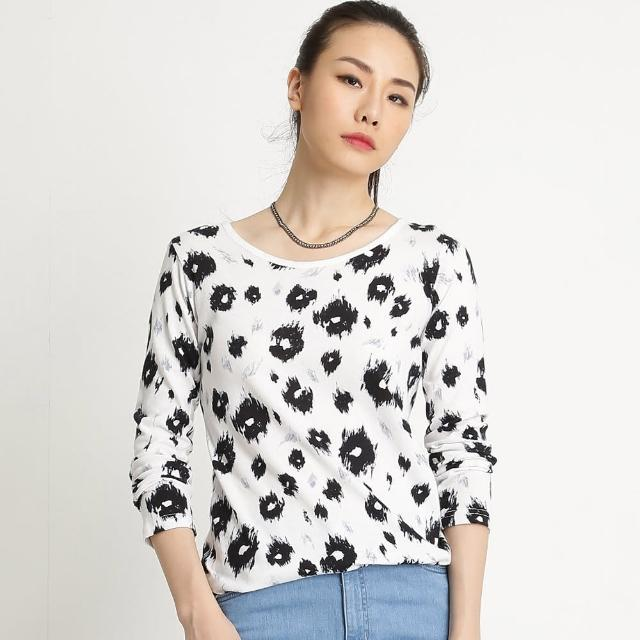 【BOBSON】女款印花布長袖上衣(米白32080-81)