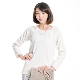 【BOBSON】女款雪紡紗緹織布長袖上衣(米白33081-81)