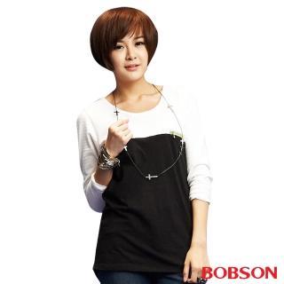 【BOBSON】女款雙配色寬版長袖上衣(白33086-01)