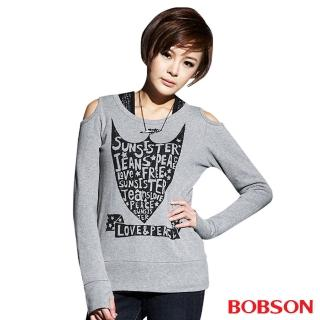 【BOBSON】女款印圖裸肩長袖上衣(灰33087-82)