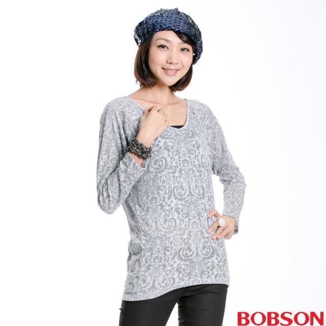 【BOBSON】燒花布長袖上衣(灰33093-82)