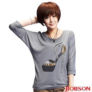 【BOBSON】女款燙鋁片跟鞋寬版長袖上衣(灰33098-83)