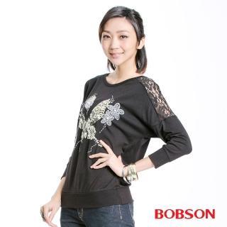 【BOBSON】女款蕾絲蝴蝶長袖上衣(黑33122-88)