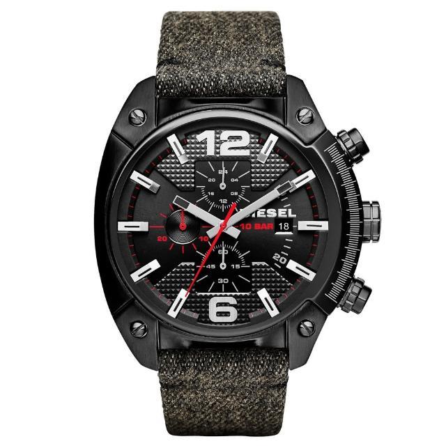 【DIESEL】機械型男個性三環時尚腕錶-黑(DZ4373)