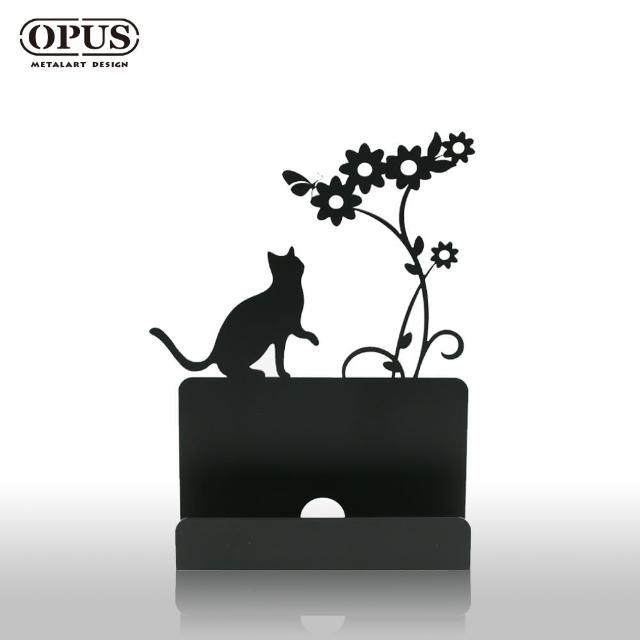 【OPUS東齊金工】歐式鐵藝名片座/高級名片架/會展用品/金屬商務名片盒(CA-ca02 貓咪 經典黑)