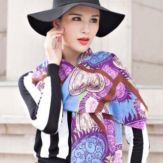 【Seoul Show】60支紗 窗櫺愛心 100%純羊毛印花圍巾保暖披肩(紫色)