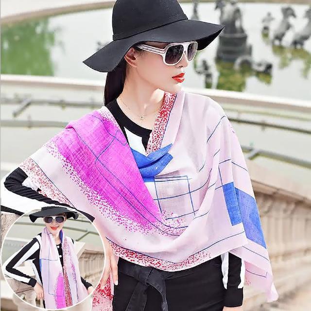 【Seoul Show】60支紗 普普條格 100%純羊毛印花圍巾保暖披肩(粉彩色)