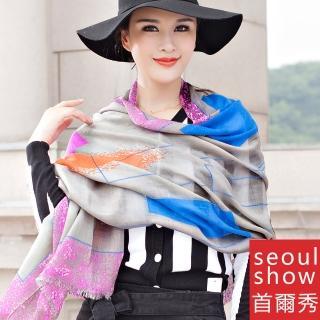 【Seoul Show】60支紗 普普條格 100%純羊毛印花圍巾保暖披肩(灰彩色)