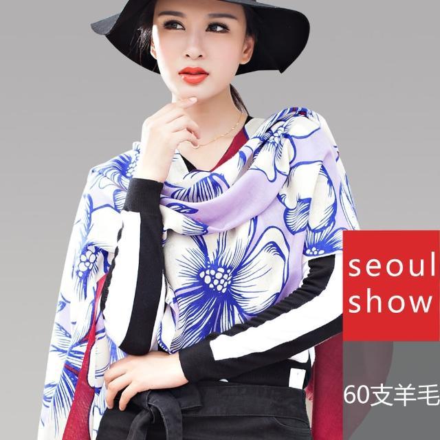【Seoul Show】60支紗 映花夜語 100%純羊毛印花圍巾保暖披肩(紅紫色)
