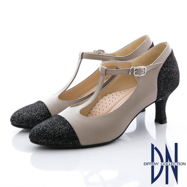 【DN】復刻時尚 真皮金蔥拼接瑪莉珍款跟鞋(黑)