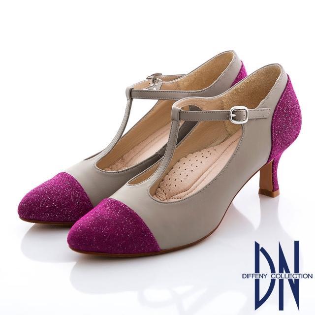 【DN】復刻時尚 真皮金蔥拼接瑪莉珍款跟鞋(桃)