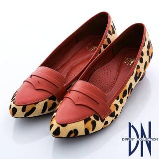 【DN】最愛MIT 真皮拼接異材質微尖樂福鞋(橘紅)