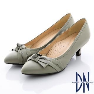 【DN】氣質甜心 MIT全真皮蝴蝶結尖頭跟鞋(灰)